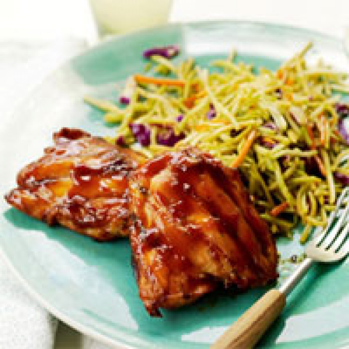 Asian BBQ Chicken Thighs and Broccoli Slaw